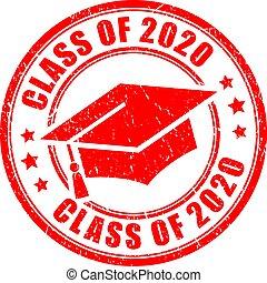 vector, clase, estampilla, 2020, graduación