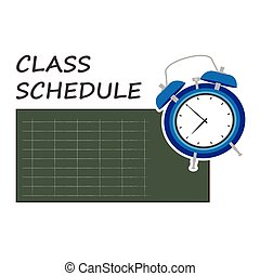 vector, clase, ilustración, horario