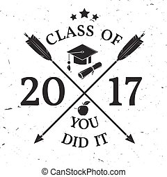 Vector Class of 2017 badge. Concept for shirt, print, seal,...