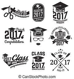 Vector Class of 2017 badge. - Set of Vector Class of 2017...