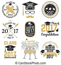 Vector Class of 2017 badge. - Set of Class of 2017 badges....