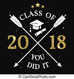 Vector Class of 2018 badge. Concept for shirt, print, seal,...