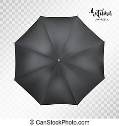 Vector classic black round Rain umbrella top view. Transparent background