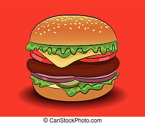 Vector classic burger on a red background