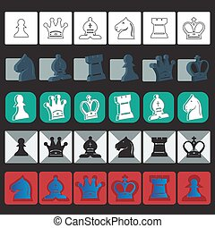 vector classic chess icons set