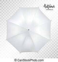 Vector classic grey round Rain umbrella top view. Transparent background