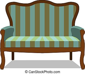 Vector classic sofa icon front view isolated. Luxury furniture design flat retro style antique apartment classical color comfort, couch, decor, fashion.