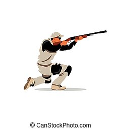 Vector Clay Shooting Cartoon Illustration. - A Man with a...