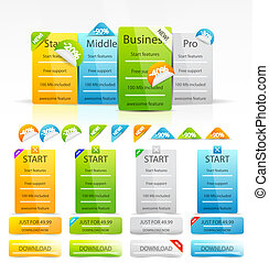 Vector clean color web boxes and labels - Choosing the plan...