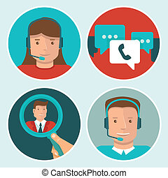 Vector client service flat icons on round backgrounds - man ...