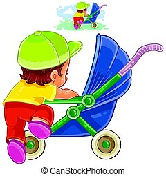Vector clip art illustration of little child climbs into a pram