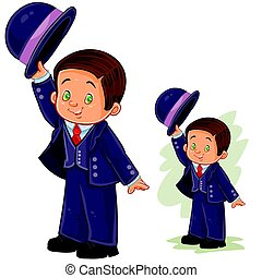 Vector clip art illustration with young boy in ballroom, period costume. Print, template, design element