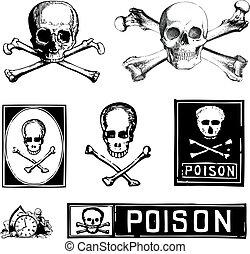 vector, clipart, cráneos, crossbones, veneno