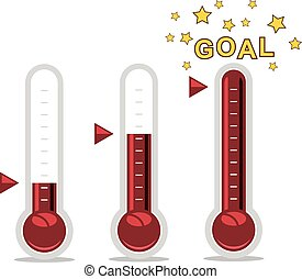vector clipart of goal thermometers at different levels