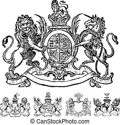 Set of vector lion crests and coat of arms. Great for any victorian or medieval design. Created from crest images in the public domain. Vector file is an EPS 10 file. Vector editing features are only available with the EPS file. Watermarks are removed from the image you get after purchasing.