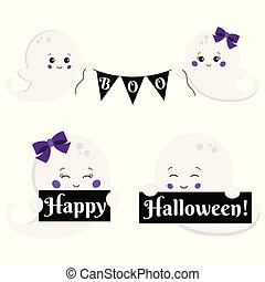 Vector clipart set cartoon flat kawaii style cute, little, scary boy and girl ghost with boo banner and Happy Halloween