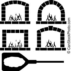 vector clipart set of ovens with burning fire and pizza