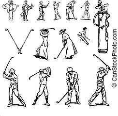 Vector Clipart Vintage Golf Set