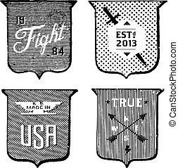 Vector Clipart Vintage Hipster Label Set