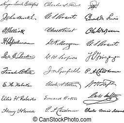 Vector Clipart Vintage Signatures - Set of vintage...