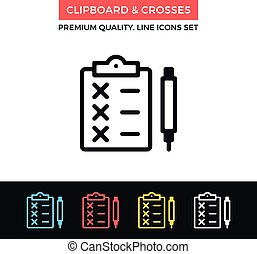 Vector clipboard and crosses icon. Thin line icon