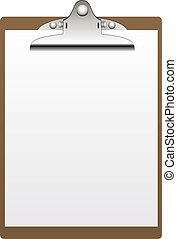 vector clipboard and paper isolated on white background