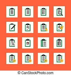 Vector clipboard icon set in flat design style