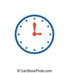 vector clock Flat icon and Logo blue, orange