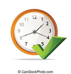 Vector clock Icon and check mark