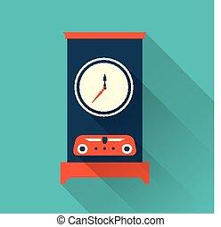 Vector clock icon flat style
