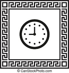 Vector clock icon in a frame with a Greek ornament