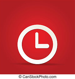 vector clock icon on red background
