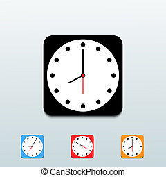 Vector clock icon set on blue background. Eps10