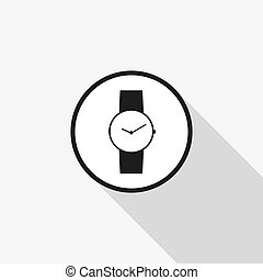 Vector clock icon with a long shadow on the background