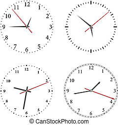 Set of vector clock on white background