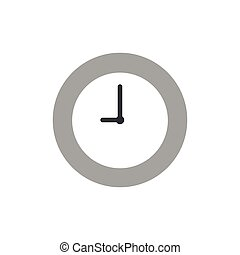 Vector clock time icon on white with flat design style