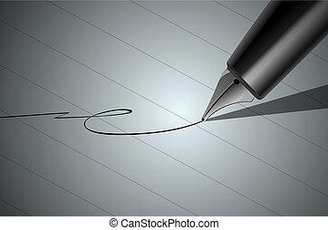 Vector Close up of a pen and signature.