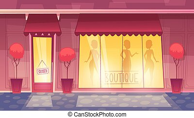 Vector closed cartoon boutique with illuminated shop-window
