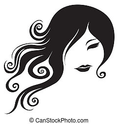 portrait of woman with long hair - Vector closeup grunge ...