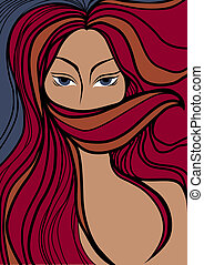 Vector closeup portrait of a girl with beautiful red hair