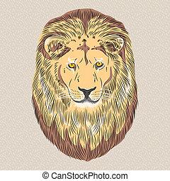 vector closeup portrait of a serious lion