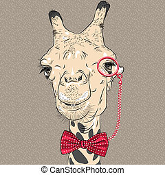 sketch closeup portrait of funny camel hipster in red eyeglasses and bowtie