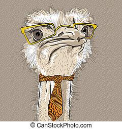 vector closeup portrait of funny Ostrich Bird hipster