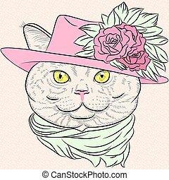 vector closeup portrait of the British cat hipster lady - ...