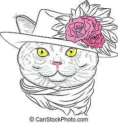 vector closeup portrait of the British cat hipster lady
