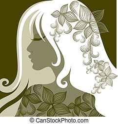 Vector closeup portrait of woman