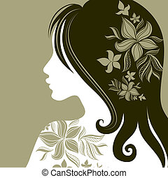 "Vector closeup portrait of woman with flower in long hair (From my big ""Vintage woman collection "")"