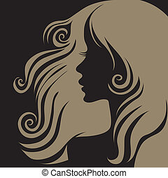 """Vector closeup portrait of woman with long hair (From my big """"Vintage woman collection """")"""