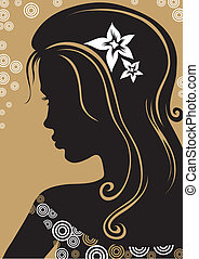 "Vector closeup portrait of woman with long hair (From my big ""Vintage woman collection "")"