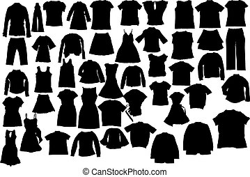 Vector clothes silhuettes - Abstract clothes silhuettes ...
